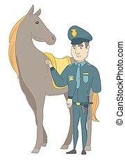 officier, horse., politie, jonge, kaukasisch