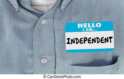 onafhankelijk, naam, hemd, sticker, illustratie, label, hallo, 3d