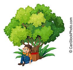 onder, boompje, jonge, farmer