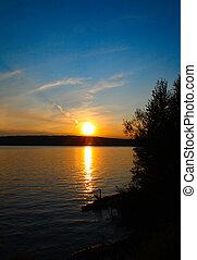 ondergaande zon , meer, landscape
