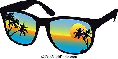 ondergaande zon , zonnebrillen, zee