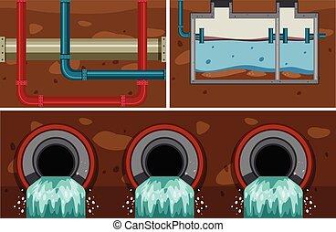 ondergronds, systeem, pijp, water, riool