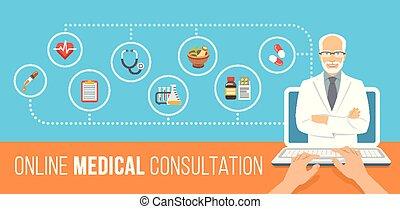 online, consultatie, spandoek, gezondheid, plat, care