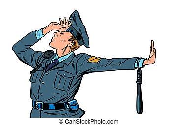 ontkenning, politie, nee, schande, officier, kaukasisch, gebaar