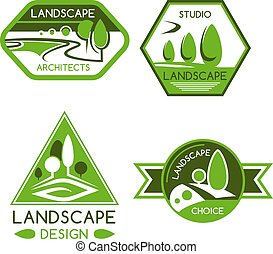 ontwerp, embleem, diensten, natuur, landscaping