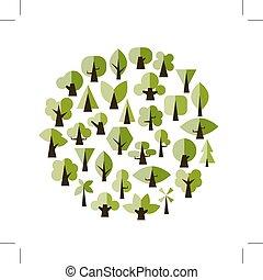 ontwerp, set, groene, jouw, bomen