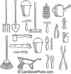 ontwerp, tuinieren, landbouw, schetsen, gereedschap