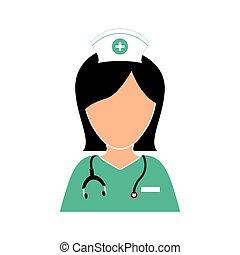 ontwerp, verpleegkundige, stethoscope, pictogram