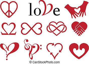ontwerpen, hart, abstract, vector, set