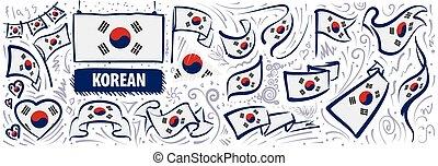 ontwerpen, set, zuiden, gevarieerd, koreaanse, nationale, creatief, vlag, vector