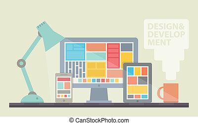 ontwikkeling, web ontwerp, illustratie
