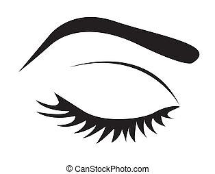 oog, silhouette, wenkbrauw, zweepslagen