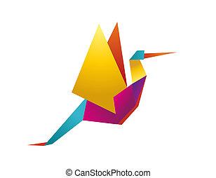 ooievaar, vibrant, kleuren, origami