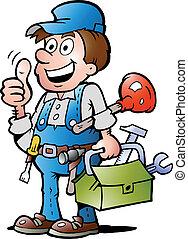 op, handyman, duim, installatiebedrijf, geven