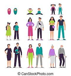 op, illustratie, mensen, anders, set., ouwetjes, vector, man, karakters, couples., siblings, leeftijden, broer, samen., personen, paar, meisje, geitjes, vrouw, het verouderen, concept, groeiende, zuster, jongen, proces