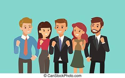 op, illustration., concept, spotprent, fist, togetherness, team, vrolijke , gesture., teamwork, zakelijk