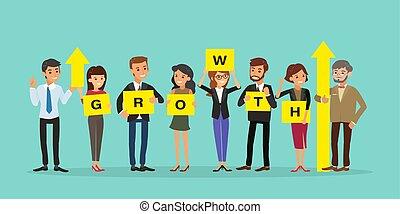op, zakenman, illustration., concept, plank, succesvolle , groei, character., spotprent, graph., woord, mensen, vasthouden, richtingwijzer, groep, zakelijk