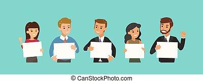 op, zakenman, plank, leeg, character., spotprent, team, witte , vrolijke , bemoedigen, gesture., vasthouden, zakelijk
