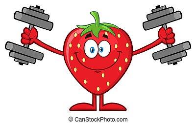 opleiding, dumbbells, karakter, aardbei, fruit, het glimlachen, spotprent, mascotte