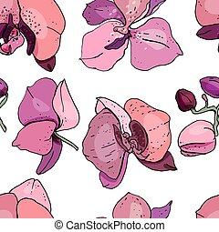 orchids., floral, textuur, model, seamless, ontwerp, eindeloos