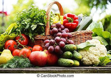organisch, tuin, wicker, groentes, mand, fris