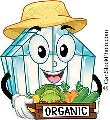 organisch, woning, groentes, illustratie, groene, mascotte