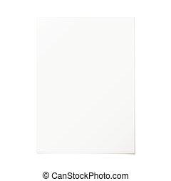 oriëntering, papier, vector, a4, verticaal, witte , schaduw, lege