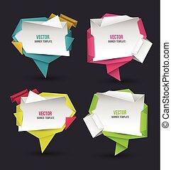 origami, abstract, moderne, toespraak, set