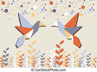 origami, paar, op, beige, kolibrie