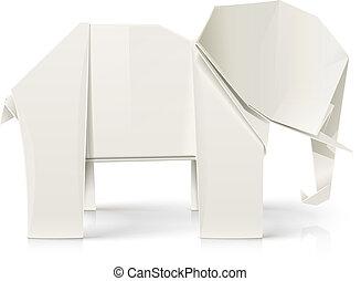 origami, papier, speelbal, elefant