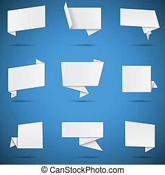 origami, toespraak, witte , bellen
