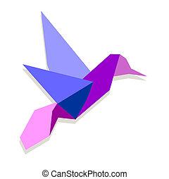 origami, vibrant, kleuren, kolibrie