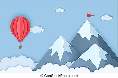 origami, warme, landscape, bergen, knippen, rood, vector, balloon., drie, bedekken, wolken, papier, style., illustratie, sneeuw, lucht, kaart, vliegen