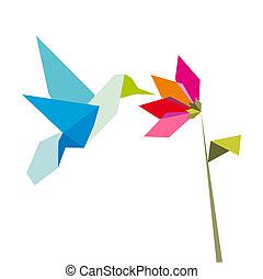 origami, witte bloem, kolibrie