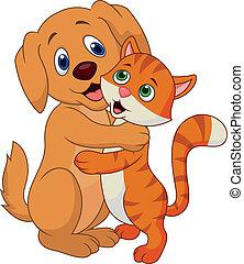 oth, schattig, omhelzen, dog, kat, elke