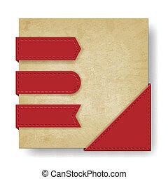 oud, papier, achtergrond, hoek, linten, rood