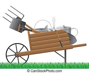 oud, tuin, houten, werktuig, vrijstaand, illustratie, vector, retro, achtergrond, kruiwagen, witte