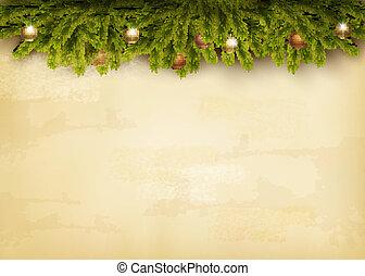 oud, versiering, achtergrond., papier, vector., kerstmis