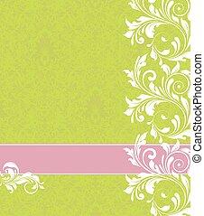 ouderwetse , abstract, uitnodiging, elegant, ontwerp, sierlijk, floral, kaart