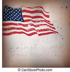 ouderwetse , amerikaan, textured, vlag, achtergrond.