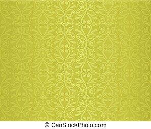 ouderwetse , behang, ontwerp, groene achtergrond