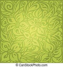 ouderwetse , behang, vector, ontwerp, retro, achtergrond, groene