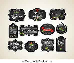 ouderwetse , etiketten, chalkboard, kerstmis, uitnodiging