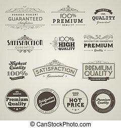 ouderwetse , etiketten, premie, kwaliteit