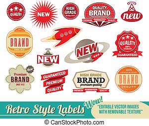 ouderwetse , etiketten, retro, markeringen