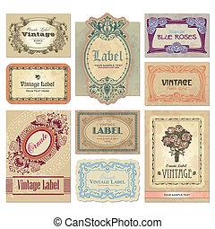 ouderwetse , etiketten, set, (vector)