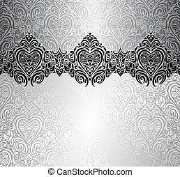 ouderwetse , ontwerp, zilver, modieus