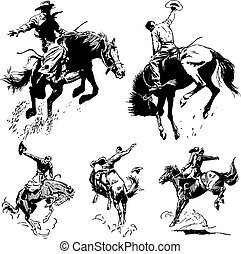 ouderwetse , rodeo, vector, grafiek