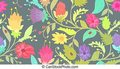 ouderwetse , seamless, textuur, ontwerp, zich verbeelden, bloemen, jouw