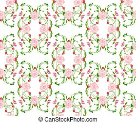 ouderwetse , seamless, textuur, rozen, ontwerp, floral, jouw